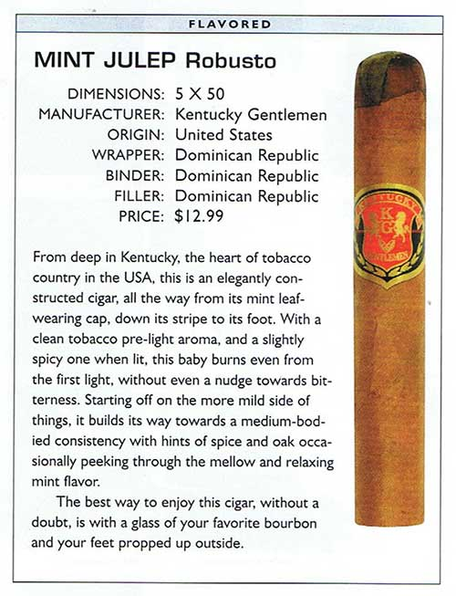 Smoke magazine review of Kentucky Gentleman Cigars