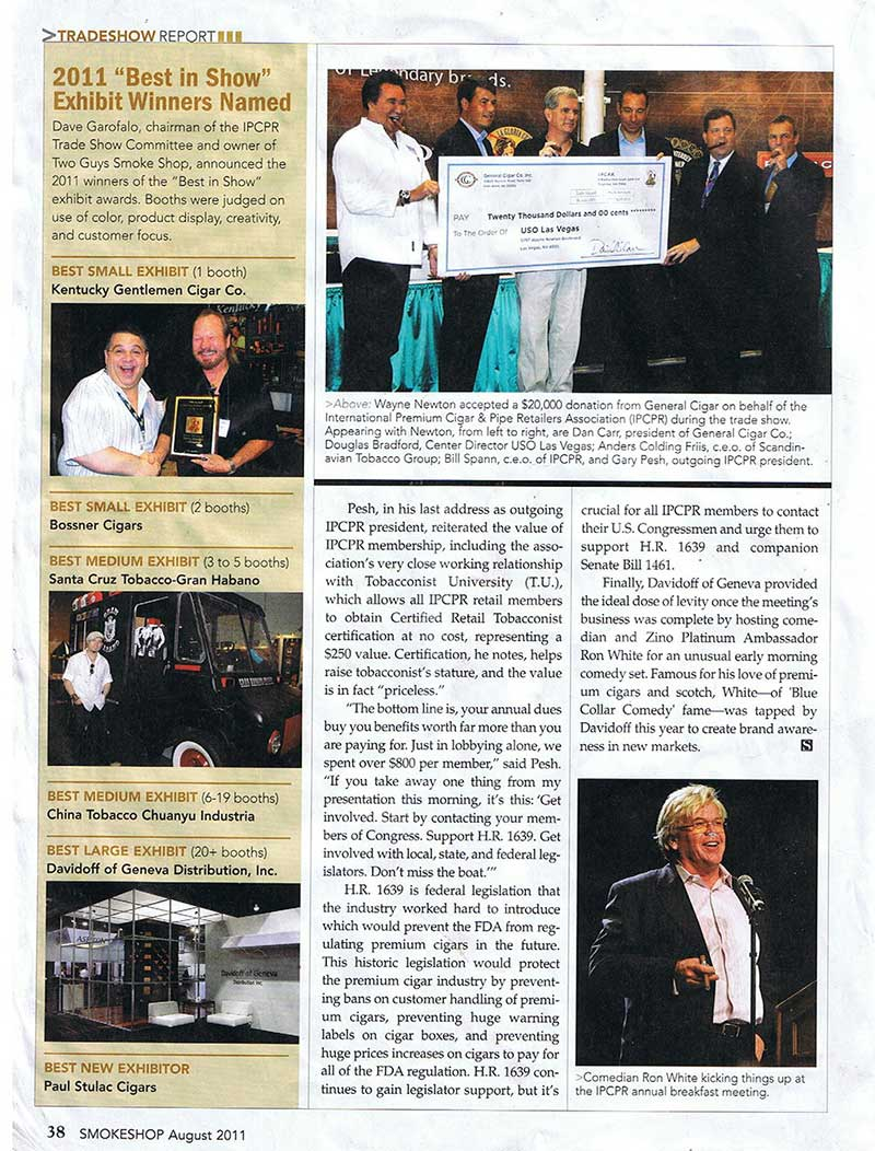 """Kentucky Gentlemen Cigars win """"Best Small Exhibit"""""""