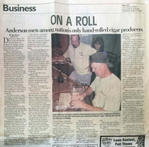On a Roll - Anderson men among nation's only hand-rolled cigar producers